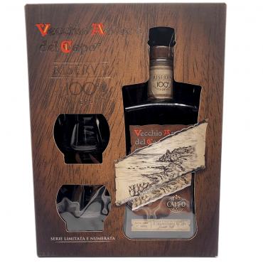Amaro del capo riserva 100th  astuccio con due bicchieri